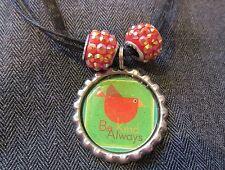 BE KIND ALWAYS Black Ribbon Bottle Cap Bling Charm Necklace Sparkle Beads Bird