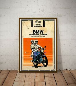 """1955-1973 BMW Motorcycle Handbook POSTER! (Up to full-size 24"""" x 36"""") - Vintage"""