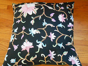 VINTAGE FLORAL EMBROIDERED PILLOW AND PILLOWCASE BLACK BACKGROUND