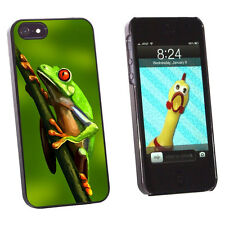 Green Red Eyed Tree Frog - Tropical Rainforest Case for iPhone 5 5S - Black