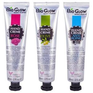 BIO GLOW HAND CREAM CRUELTY-FREE VEGAN 60ml: ROSE / ANTI-AGEING Q10 / OLIVE