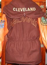 Vintage Triple FAT Goose Cleveland Browns Varsity Parka Leather Split Hood Rare