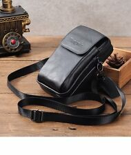 Genuine Leather Men Cellphone Pouch Bag Holster Case Belt Waist Crossbody Pack