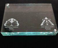 Walt Disney World Swan & Dolphin Hotels Lucite Engraved Stand Frame Souvenir