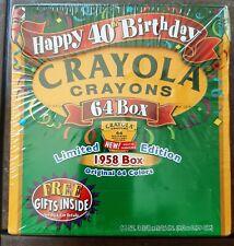 New! Sealed! Crayola Crayons Happy 40th Birthday 64 Box Limited Edition 1958 Box