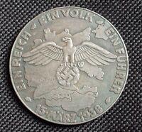 WW2 GERMAN COMMEMORATIVE COIN 1938 WEHRMACHT HITLER