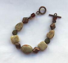 Fashion Toggle Bracelet- oval & square links - beige bronze- brown