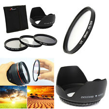 58mm UV CPL ND4 Circular Polarizing Filter Kit Set + Lens Hood For Canon Camera