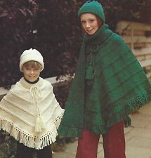 Poncho, Hat and Scarf with fringe Knitting Pattern  4-17 years Aran 900