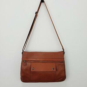 OROTON Mens Cognac Pebbled Leather Laptop Satchel Bag