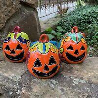 Mexican Talavera Pumpkin JOL Set - Mexcan Pottery Calabaza - Halloween Decor