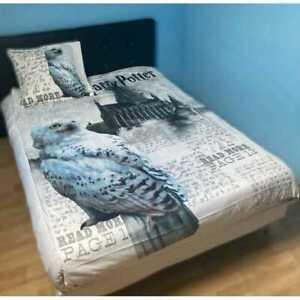 Harry Potter Cream OWL design Duvet cover Pillow case Single bed set reversible