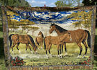 """Vintage P & C Horse Equestrian Italian Woven Tapestry Rug Wall Hanging 68"""" X 48"""""""