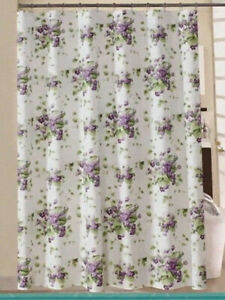 Traditions by Waverly Fabric Shower Curtain with Metal Hooks - Sweet Violet