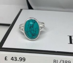 925 Sterling Silver Turquoise Cabochon Oval Gemstone Ring RRP £43.99 Gift Boxed