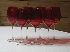 Vtg. Ruby Red w/Clear Stem Set of 7 Wine/Water 12 oz. Goblets