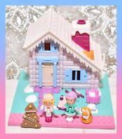 ❤️Polly Pocket Vtg 1993 Holiday Chalet Winter Ski Lodge House Bluebird Dog❤️
