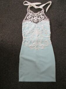 BNWT PINK BOUTIQUE AQUA AND WHITE CROCHET ONERLAY HALTERNECK DRESS SIZE 8