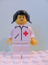 LEGO Minifig doc008 @@ Doctor Straight Line White Legs, Black Pigtails Hair 6680