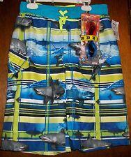 Boys Cargo Swimwear sz L 14-16 ZEROXPOSUR DEEP AQUA Aqua Blue Lime White NWT