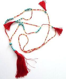 Seas and Breeze Boho beaded tassel women handbeaded necklace pendant