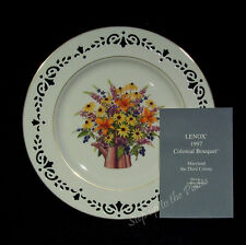 Lenox China 3rd Colonial Bouquet Plate Maryland 1997 w/ Coa ~ Reduced Price