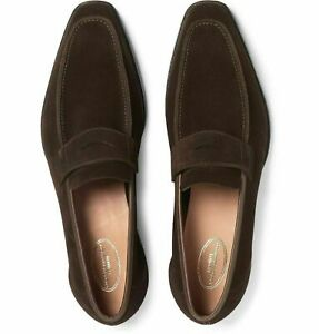 Loafers Stylish Suede Brown Handmade Blue Lining Shoes