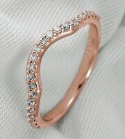 Diamond Wedding Band Ring 0.25Ct Round Cut 14K Rose Gold Curved Anniversary
