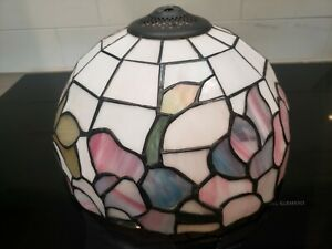 EUC Tiffany Style Stained Glass Lamp Shade Floral Pattern Heavy FREE SHIP
