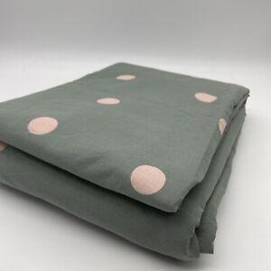 New Orianne 100% Cotton King Size Duvet Cover Green Spot Polka Dot