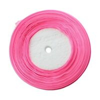 50 Yards 3/8 inch Organza Ribbon - Pink # 13-- Perfect for Wedding Favors,  9X9