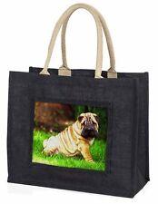 Cute Shar-Pei Dog Large Black Shopping Bag Christmas Present Idea    , AD-SH1BLB