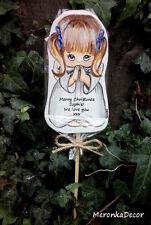 Christmas Grave Ornament Baby Memorial Angel Personalised Wooden- Handpainted