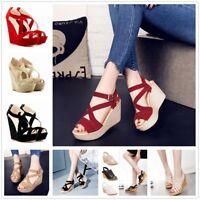 Women Casual Open Toe Strape Sandals Platform Wedge Shoes High Heels Fashion New