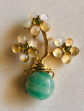 New ListingSwoboda Flower Vase Brooch ~ Moonstone, Peridot, Aventurine ~ Gorgeous!