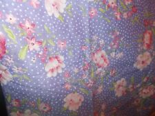 1Yard Purple WHITE DOTS with PINK & WHITE  FLOWERS Print Cotton Material