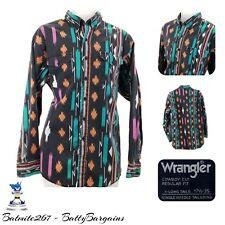 Vintage Wrangler AZTEC XL Mens Shirt 17 1/2 - 35 L/S Western Cowboy Faded RETRO