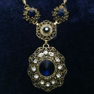 12.95 Ct Vintage Green Round Sapphire Pendant Necklace 14K Gold Filled Jewelry