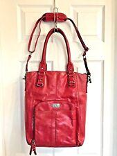 CLARK & MAYFIELD red leather Laptop cross body messenger bag shoulder purse Tote