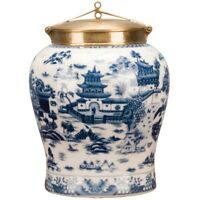 """NEW PORCELAIN AND BRONZE ORMOLU BLUE WILLOW COVERED JAR 12"""""""