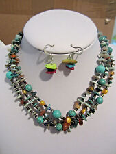Three Strand Turquoise stone BeadMulti ColorShel Chips Necklace earring Set
