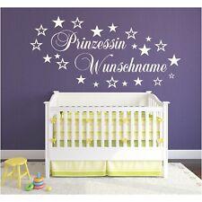 Wandtattoo Prinzessin  Wunschname Wunschtext Sterne Sticker Wandaufkleber Name