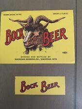 Vintage Bock Beer Sheridan Brewing Bottle And Neck Label Irtp