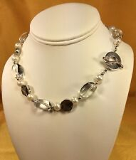 """Saki 925 Fine Sterling Silver Pearl/Glass Gemstone Beads 16"""" Necklace"""