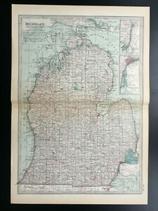 Antique Map Of Michigan Southern Detroit North America  1903
