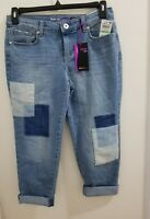 Style & Co Womens Patchwork Curvy Fit Boyfriend Jeans Sz 18W