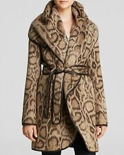 New $698 DVF Diane von Furstenberg Bergan Leopard Wrap Coat sz L large womens