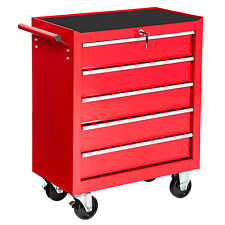 Chariot d'atelier 5 tiroirs à outils servante caisse à roulettes rouge roulant