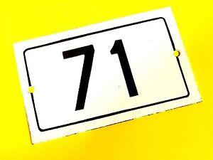 Vtg European Porcelain Enamel House Door Number 71 Metal Sign White&Black 1950's