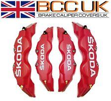 BIG RED Brake Caliper Covers DIY Kit White SKODA Logo Front Rear L+M fits SKODA